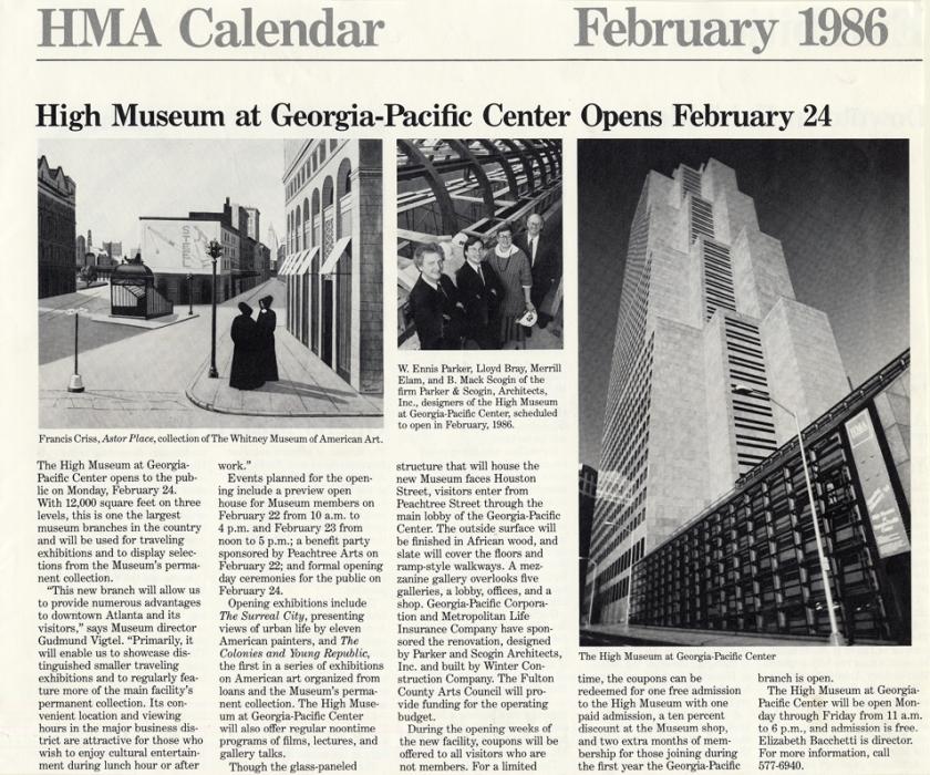 Hma Calendar High Museum At Georgia Pacific Center Opens February 24 February 1986 Mack Scogin Merrill Elam Architects